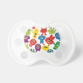 Cute Funny Colorful Monsters Pattern Pacifier