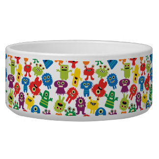 Cute Funny Colorful Monsters Pattern Dog Water Bowls