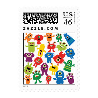 Cute Funny Colorful Monsters Pattern Postage Stamps