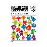 Cute Funny Colorful Monsters Pattern Postage at Zazzle
