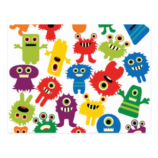 Cute Funny Colorful Monsters Pattern Postcard