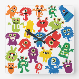 Cute Funny Colorful Monsters Pattern Square Wall Clock