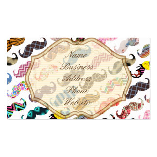 Cute Funny Colorful  Mustaches Pattern Double-Sided Standard Business Cards (Pack Of 100)