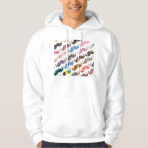 Cute Funny Colorful  Mustaches Pattern Hoodie