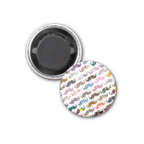 Cute Funny Colorful  Mustaches Pattern Magnet