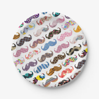 Cute Funny Colorful  Mustaches Pattern Paper Plate