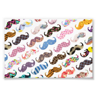 Cute Funny Colorful  Mustaches Pattern Photo Print