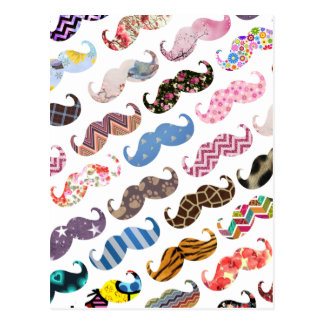 Cute Funny Colorful  Mustaches Pattern Postcard