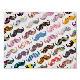 Cute Funny Colorful  Mustaches Pattern Poster