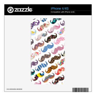 Cute Funny Colorful  Mustaches Pattern Decal For iPhone 4