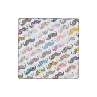 Cute Funny Colorful  Mustaches Pattern Stone Magnet