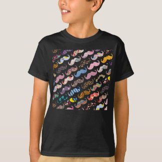 Cute Funny Colorful  Mustaches Pattern T-Shirt