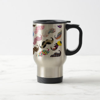 Cute Funny Colorful  Mustaches Pattern Travel Mug