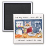 Cute, funny cooking cat in kitchen fridge magnet