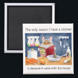 """Cute, funny cooking cat in kitchen magnet<br><div class=""""desc"""">Perfect for someone who doesn&#39;t really enjoy cooking.  You can customize the background color or comments if you&#39;d like.  This image is available on other products in my Zazzle store.</div>"""
