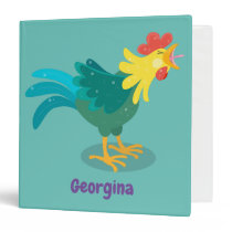 Cute funny crowing rooster cartoon illustration 3 ring binder