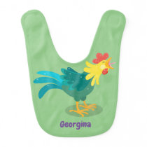 Cute funny crowing rooster cartoon illustration baby bib