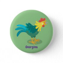 Cute funny crowing rooster cartoon illustration button