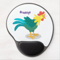 Cute funny crowing rooster cartoon illustration gel mouse pad