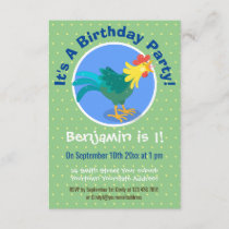 Cute funny crowing rooster cartoon illustration invitation