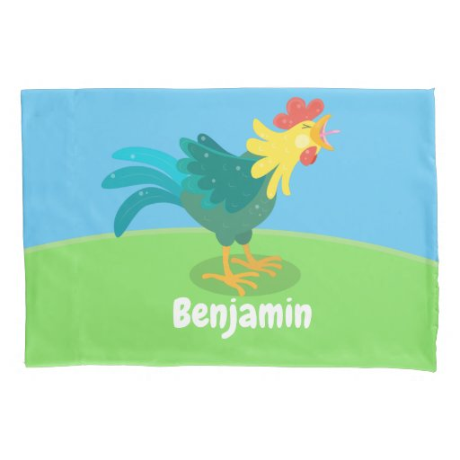 Cute funny crowing rooster cartoon illustration pillow case