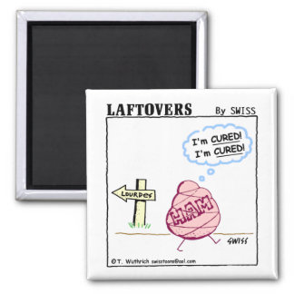 Cute Funny Cured Ham Laftovers Cartoon 2 Inch Square Magnet