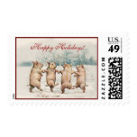 Cute Funny Dancing Pigs - Holiday Christmas Animal Stamp