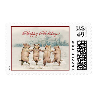 Cute Funny Dancing Pigs - Holiday Christmas Animal Postage at Zazzle