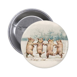 Cute, Funny Dancing Pigs - Vintage Anthropomorphic 2 Inch Round Button
