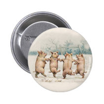 Cute, Funny Dancing Pigs - Vintage Anthropomorphic Button