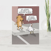Cute, Funny Dog and Chicken on Road Birthday Card