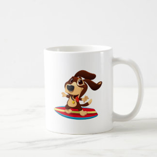 Cute funny dog on a surfboard illustration coffee mug