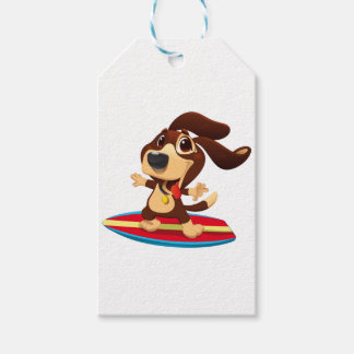 Cute funny dog on a surfboard illustration gift tags