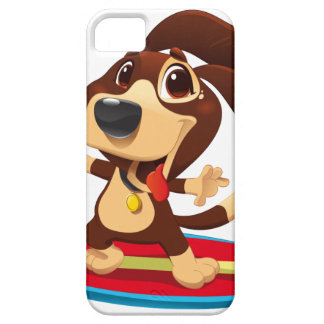 Cute funny dog on a surfboard illustration iPhone SE/5/5s case