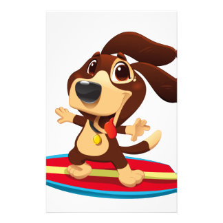 Cute funny dog on a surfboard illustration stationery
