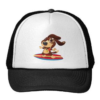 Cute funny dog on a surfboard illustration trucker hat