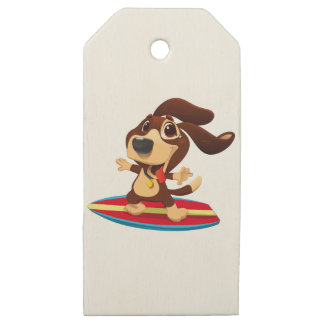 Cute funny dog on a surfboard illustration wooden gift tags
