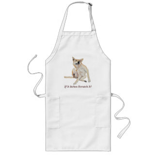 Cute funny dog scratching art with humorous slogan aprons