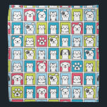 """Cute, funny dogs &amp; cats pattern bandana<br><div class=""""desc"""">Cute,  funny dogs &amp; cats pattern in cartoon style. Colorful animal portraits for every pet lover.</div>"""