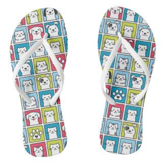 Cute, funny dogs & cats pattern flip flops