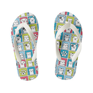 Cute, funny dogs & cats pattern kid's flip flops
