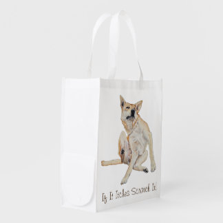 Cute funny dogs scratching smiling humorous slogan reusable grocery bag