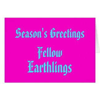 "Cute Funny ""Earthlings"" Retro Pink Merry Xmas Card"