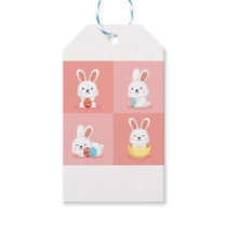 Cute funny Easter bunnies on pink Gift Tags