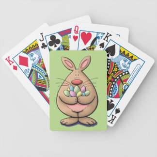 cute & funny easter bunny holding eggs cartoon bicycle playing cards