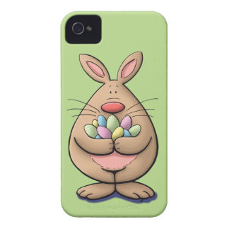 cute & funny easter bunny holding eggs cartoon iPhone 4 cover