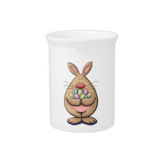 cute & funny easter bunny holding eggs cartoon pitcher