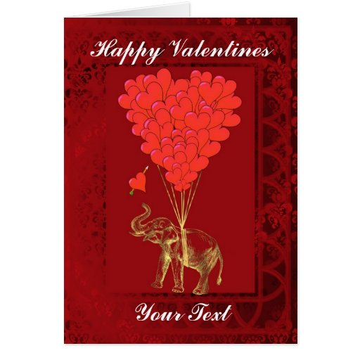 Cute funny elephant & heart, valentines greeting cards