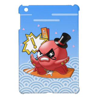 Cute Funny Evil Octopus with Moustache and Top Hat iPad Mini Cases