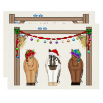 Cute Funny Farm Holiday Horses Christmas Card